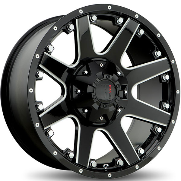 Havok Off-Road H102 Gloss Black with Milled Rivets