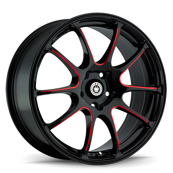Konig Illusion Gloss Black with Red Spoke Accents
