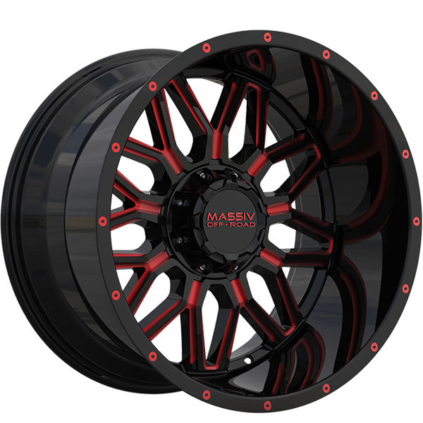 Massiv Offroad OR1 Gloss Black with Red Milled Spokes