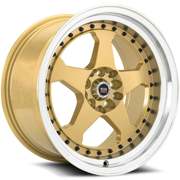 Spec-1 Trak SPT-21 Gold with Machined Lip and Black Rivets