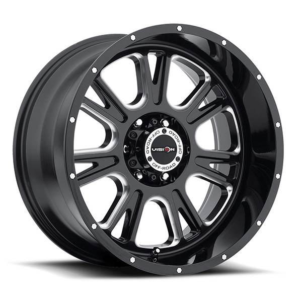 Vision Off-Road 399 Fury Gloss Black with Milled
