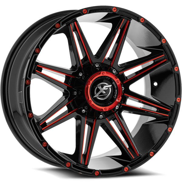 XF Off-Road XF-220 Gloss Black with Red Milled Spokes