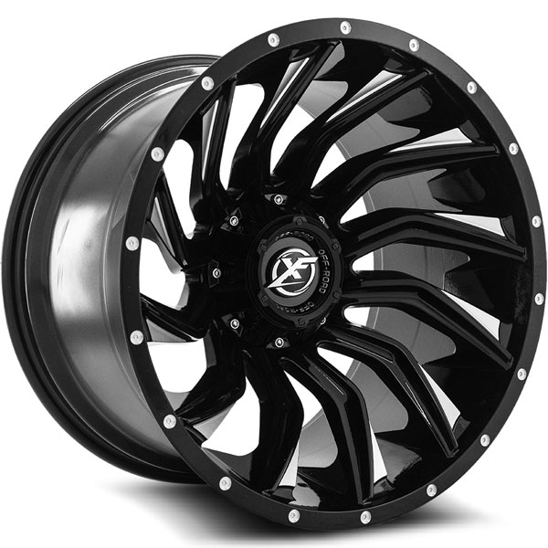 XF Off-Road XF-224 Gloss Black with Milled Spokes